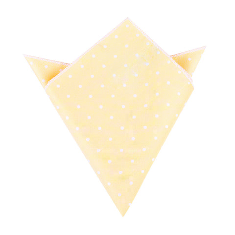 Yellow with White Polka Dots Pocket Square