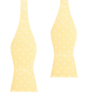 Yellow with White Polka Dots Self Tie Bow Tie