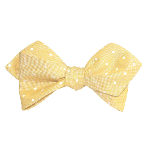 Yellow with White Polka Dots Self Tie Diamond Tip Bow Tie