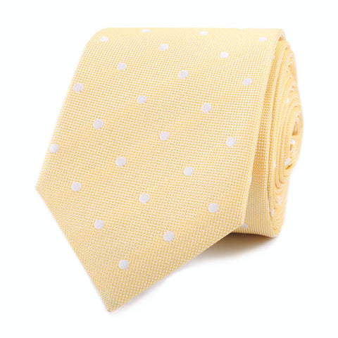 Yellow with White Polka Dots Skinny Tie
