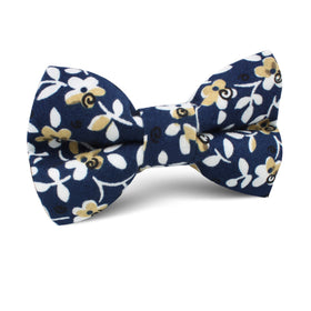 Yukata Navy Blue Floral Kids Bow Tie