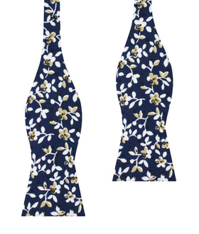 Yukata Navy Blue Floral Self Bow Tie