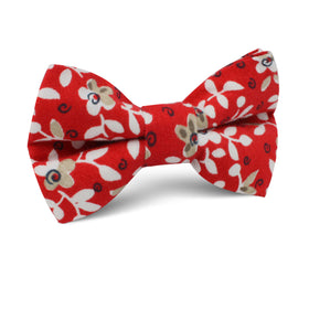 Yukata Red Floral Kids Bow Tie