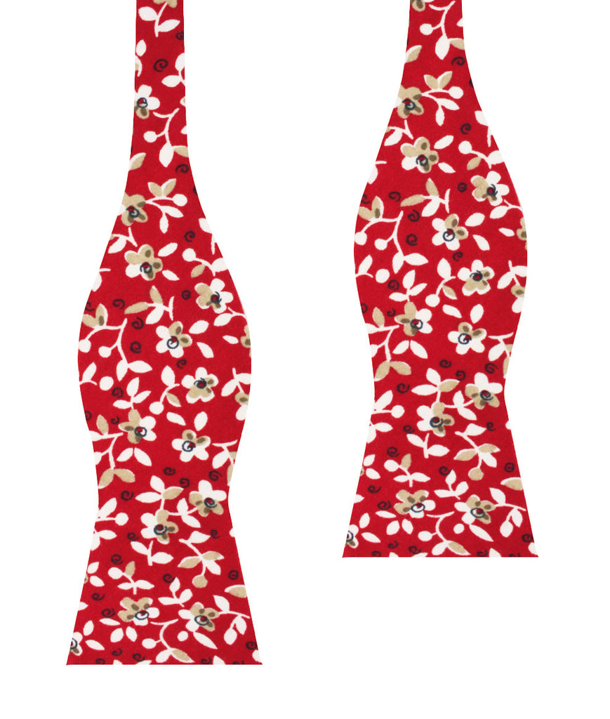Yukata Red Floral Self Bow Tie