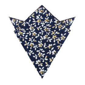 Yukata Navy Blue Floral Pocket Square