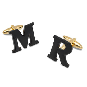 Black and Gold Personalised Cufflinks
