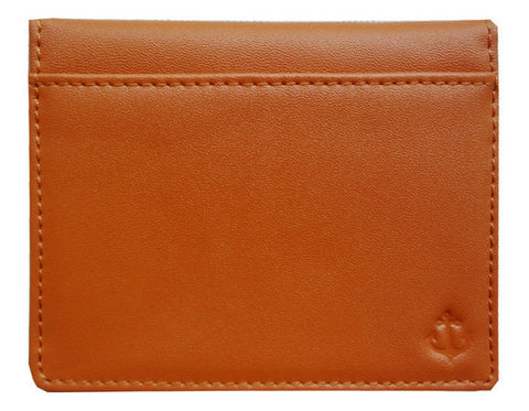 Tan Grained-Leather Bi-Fold Wallet