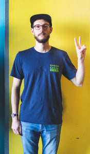 Navy Green Cheek Tee