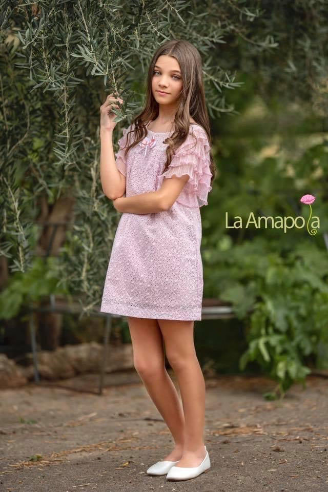 La Amapola Pink and White Aline Summer Dress