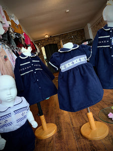 Pre Order Boys Traditional Smocked Suit Navy