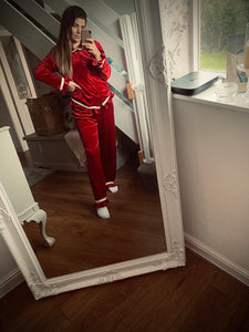 PRE ORDER - Traditional Red Velvet Pjs Womens FREE PERSONALISED EMBROIDERY
