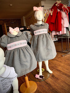 PRE ORDER - Grey Traditional Smocked Dress