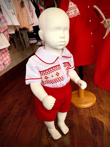 Pre Order Boys Traditional Smocked Suit Red