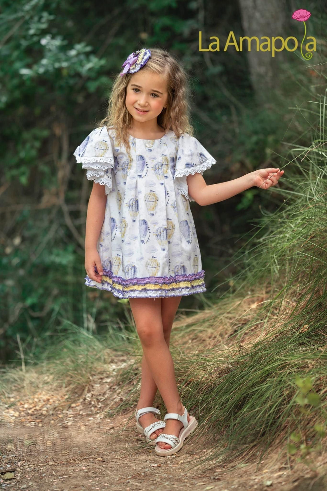 La Amapola Purple Hot Air Balloon Aline Summer Dress
