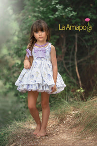 La Amapola Purple Air Balloon Puffball Summer Dress