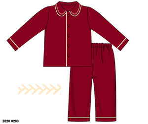 PRE ORDER - Traditional Red Velvet Pjs Boys FREE PERSONALISED EMBROIDERY