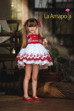 Load image into Gallery viewer, La Amapola Red and White Puffball Summer Dress