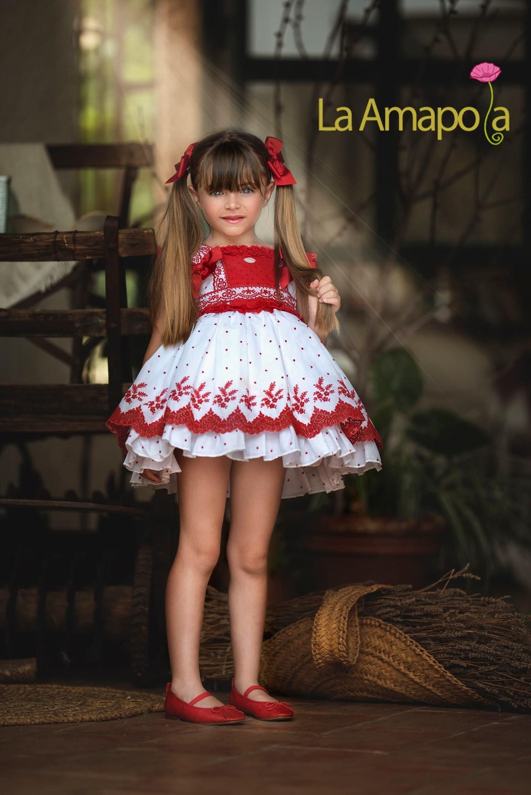La Amapola Red and White Puffball Summer Dress