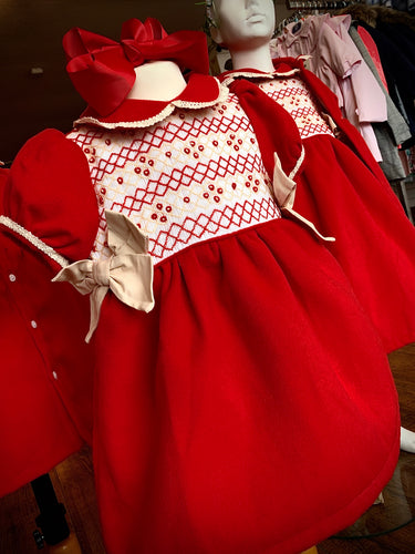 PRE ORDER - Red Traditional Smocked Dress