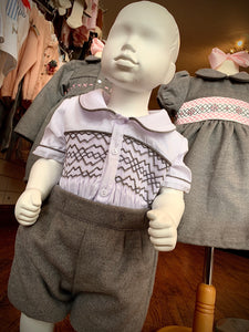 Pre Order Boys Traditional Smocked Suit Grey
