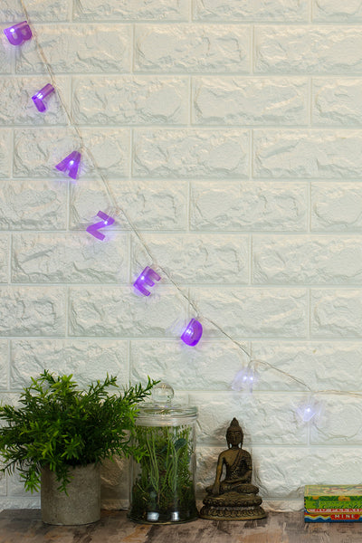 Lightly Toasted Blazed and Confused String Lights hanging from a brick wall