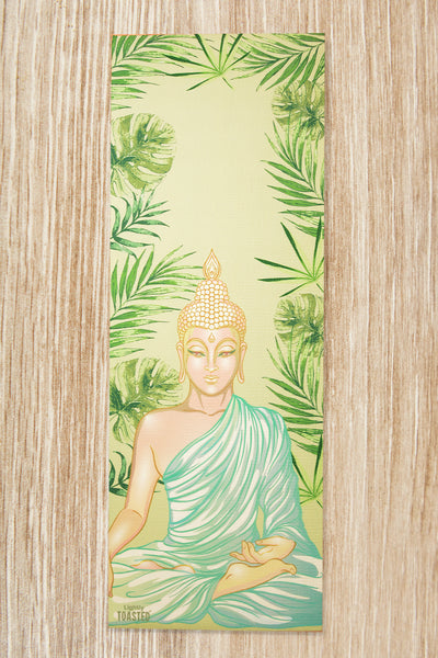 Lightly Toasted Buddha Yoga Mat with leaf print