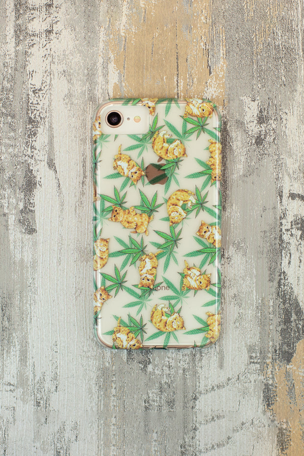 Lightly Toasted Cat and Leaf Print iPhone Case
