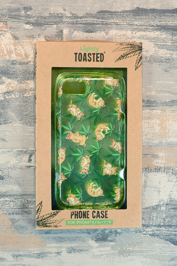 Lightly Toasted Cat and Leaf Print iPhone Case in packaging