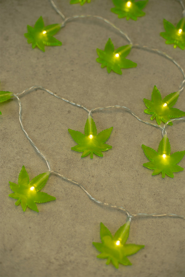 Lightly Toasted Leaf String Lights close up on leaf lit up