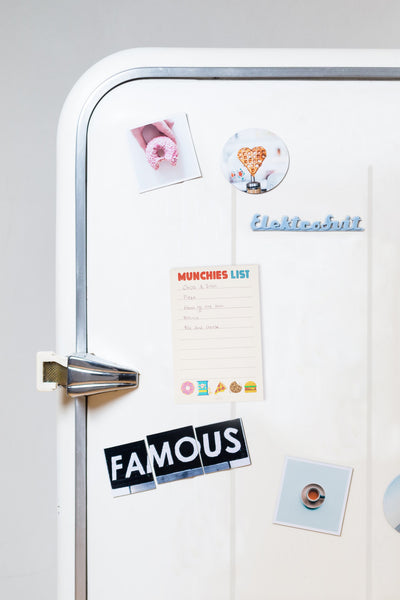 Lightly Toasted 'Munchies List' Magnetic Notepad on a refrigerator