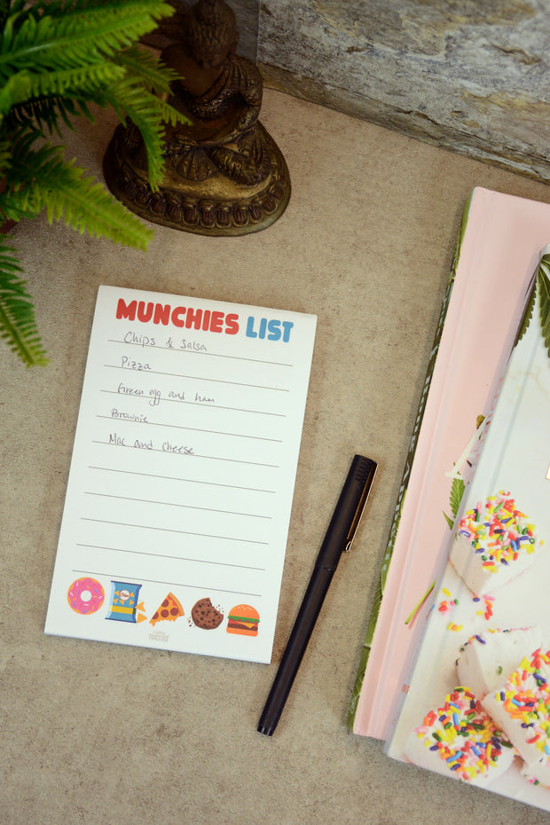 Lightly Toasted 'Munchies List' Notepad with pen and stationary