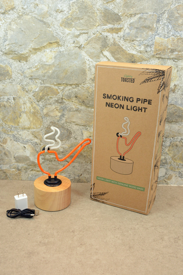 Lightly Toasted Pipe Neon Light next to box