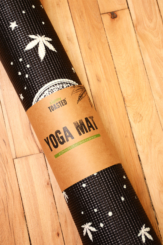 Lightly Toasted Planetary Yoga Mat rolled up
