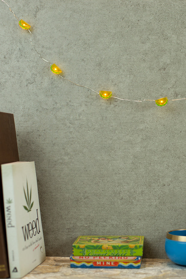 Lightly Toasted Taco Shaped Wire Lights hanging from a book shelf