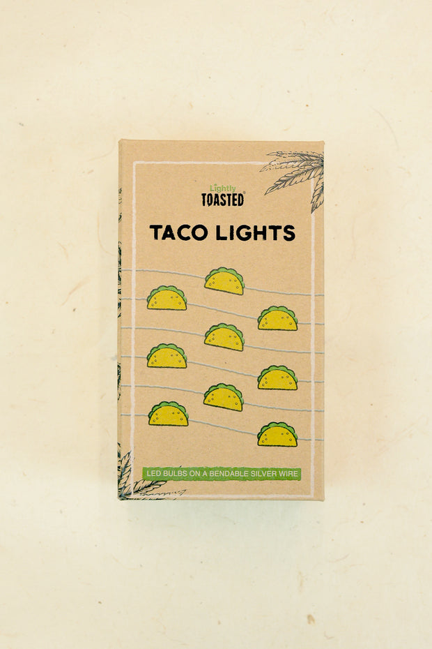 Lightly Toasted Taco Shaped Wire Lights in packaging