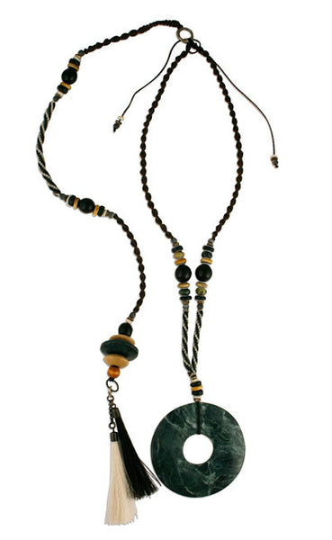 Tribal Dark Green Posture Reminder Necklace
