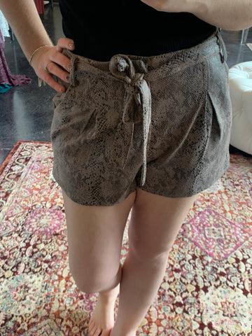 Faux Suede Snake Shorts (2 colors)