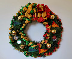 "Holiday ""House Divided"" Wreath - Your choice of two or three schools"