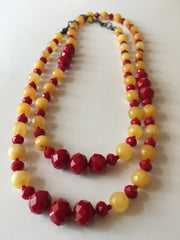 Cardinal and Gold Opera Length Necklace