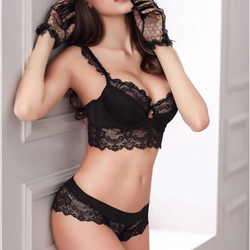 Vogue Secret Sexy Bra Set Flower Lace - Lingerie SexWeLove ™ Black / A / 32 Online Adult Shop & Sexy Lingerie Sexwelove