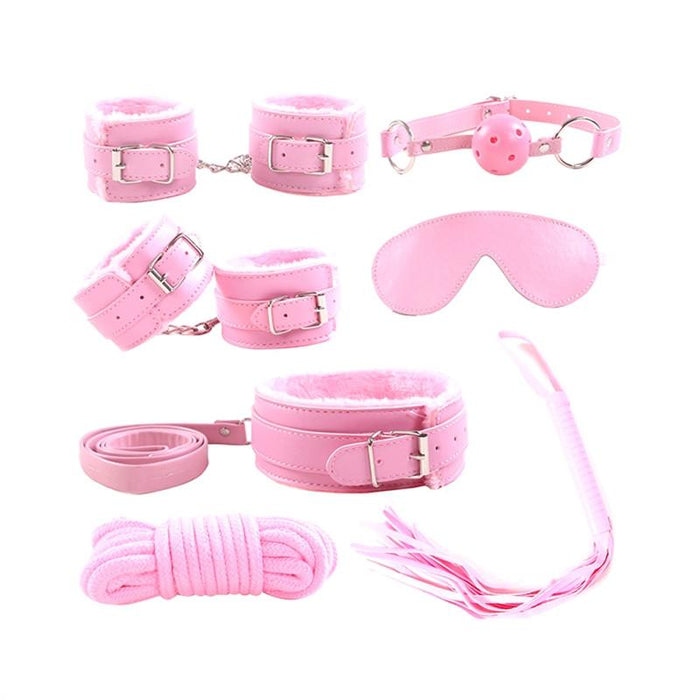 Leather Plush Sex Bondage (7 pieces) - Bondage SexWeLove ™ Pink Online Adult Shop & Sexy Lingerie Sexwelove