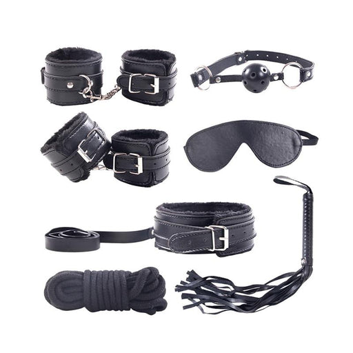7pcs Leather Plush Sex Bondage Bondage SexWeLove ™ Black