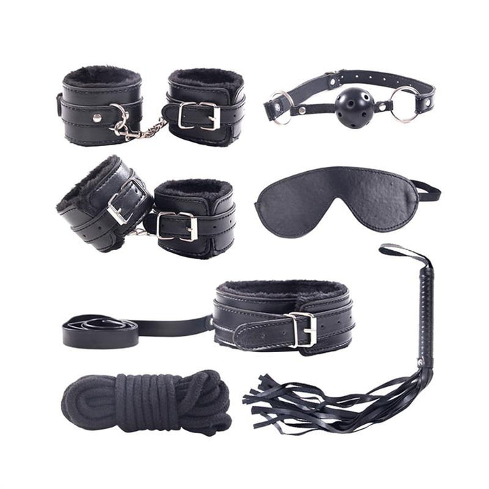 Leather Plush Sex Bondage (7 pieces) - Bondage SexWeLove ™ Black Online Adult Shop & Sexy Lingerie Sexwelove