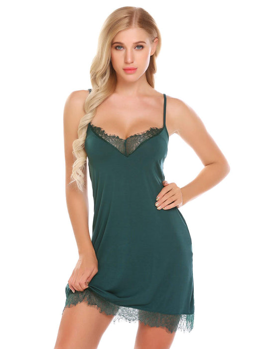 Sexy Nightgown Lace Trim - Lingerie SexWeLove ™ Green / L Online Adult Shop & Sexy Lingerie Sexwelove