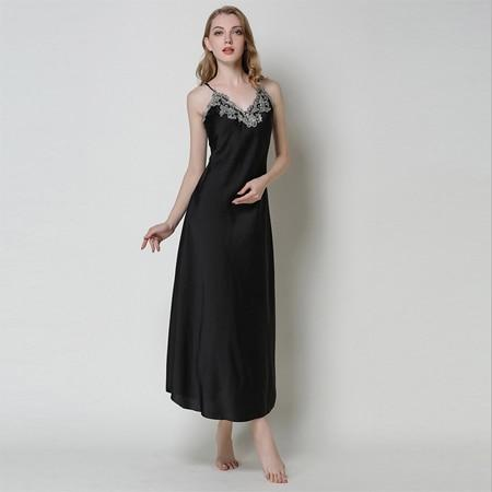 Sexy Silk Satin Nightgown Sleeveless - Lingerie SexWeLove ™ Black / M Online Adult Shop & Sexy Lingerie Sexwelove