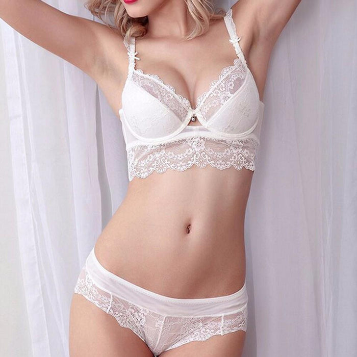 Vogue Secret Sexy Bra Set Flower Lace - Lingerie SexWeLove ™ White / A / 32 Online Adult Shop & Sexy Lingerie Sexwelove