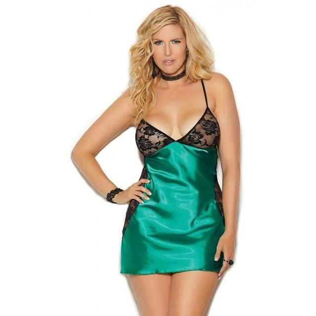 Sexy V-Neck Night Dress Satin - Lingerie SexWeLove ™ green / XXL Online Adult Shop & Sexy Lingerie Sexwelove