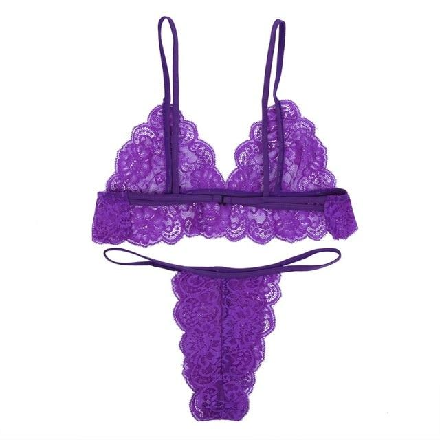 Sexy Lace Push Up Bra Set Transparent - Lingerie SexWeLove ™ Purple / A / 32 Online Adult Shop & Sexy Lingerie Sexwelove