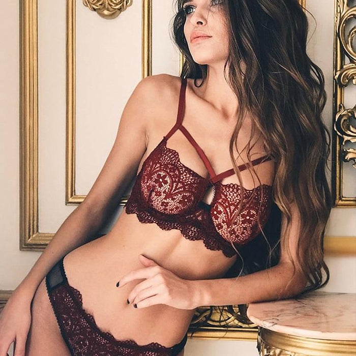 Sexy Lace Bra Set Red Floral - Lingerie SexWeLove ™ Online Adult Shop & Sexy Lingerie Sexwelove