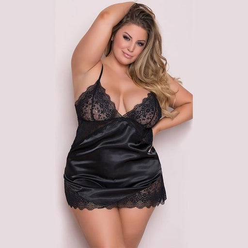 Sexy V-neck Night Dress Sleeveless - Lingerie SexWeLove ™ black / 4XL Online Adult Shop & Sexy Lingerie Sexwelove